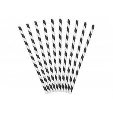 Fekete-fehér csíkos papírszívószál