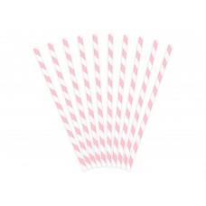 Rózsaszín-fehér csíkos szívószál