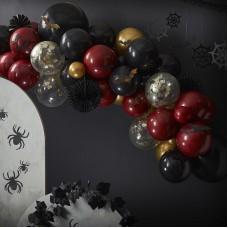 Halloween lufifüzér szett denevérrel és pókhálóval (vérvörös-fekete-arany)