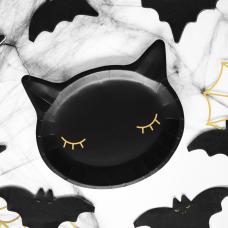Fekete macska tányér (6db)