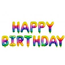 """""""Happy Birthday"""" fólialufi (szivárványos)"""