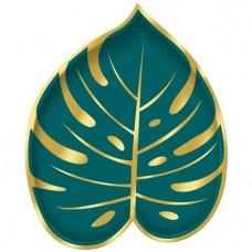 Pálmalevél tányér (8 db zöld-arany)