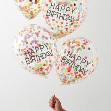 """""""Happy Birthday"""" feliratos, színes konfettivel töltött luficsokor"""