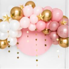 Rózsaszín-arany-fehér lufifelhő