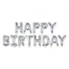 """Happy Birthday"" fólialufi (ezüst)"